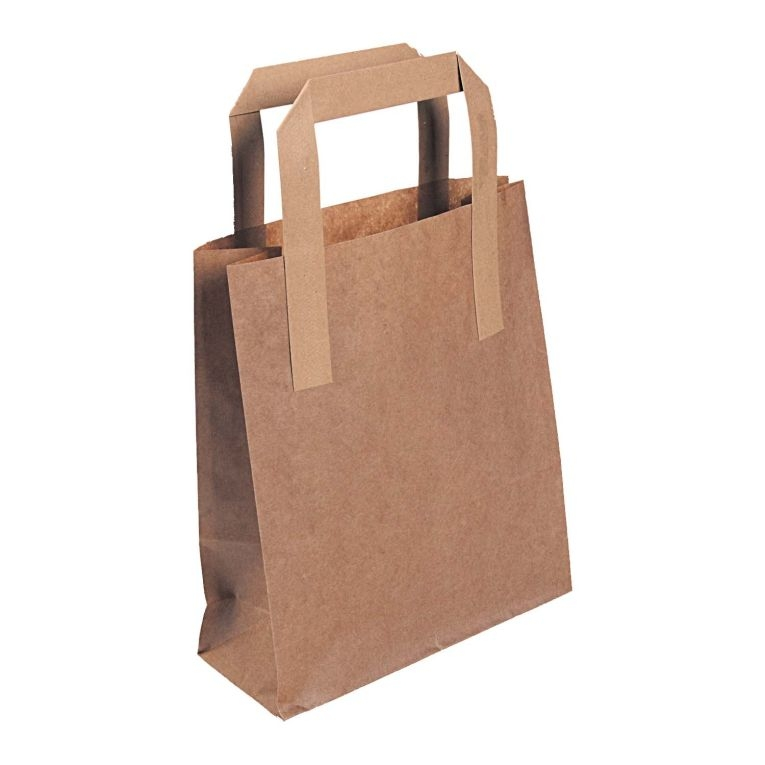 175 x 265 x 230mm / 7 x 10.75 x 8.5inch Small Brown Kraft Carrier Bags