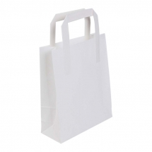 175 x 270 x 215mm / 7 x 10.75inch x 8.5inch Small White Kraft Carrier Bags