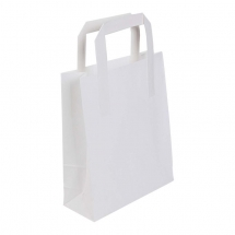 245 x 390 x 310mm / 10 x 15.5 x 12inch Large White Kraft Carrier Bags