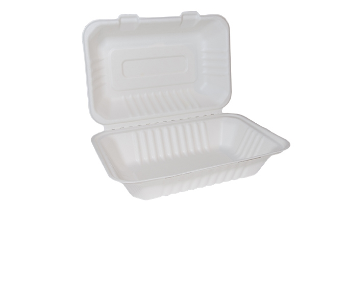 9 x 6inch Bagasse Clamshell Food / Lunch Boxes