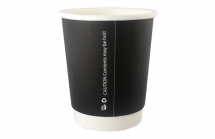 8oz Black Smooth Double Wall Cups