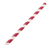 8inch Paper Red Stripe Barber Straws (200mmx6mm bore)