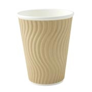 12oz 'Natural' Kraft Wave Ripple Cups