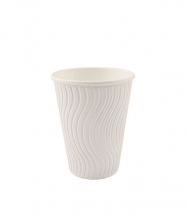 12oz White Wave Ripple Cups